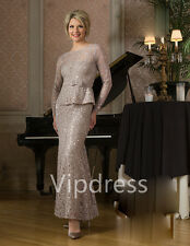 Lace Mother Of The Bride Dresses Applique Party Prom Full Length Evening Gowns