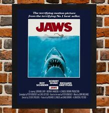 Framed Jaws Movie Poster A4 / A3 Size Mounted In Black / White Frame (Ref-6)