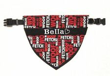 Dog Black & Red FETCH/WOOF Bandana w/Collar, Personalized Pet's Name/ID XS - XXL
