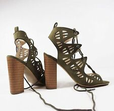 Lace Up Cut Out Block Heel Peep Toe Tie Back Casual Sandals Shoes Ladies Womens