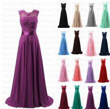 New Lace Long Chiffon Evening Party Formal Ball Gowns Bridesmaid Prom Dress 6-18