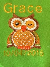 PERSONALISED EMBROIDERED PRAM/COT OWL BABY BLANKET, GIRL OR BOY,  COLOUR CHOICE