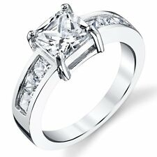 1.25 Carat Princess Cut Sterling Silver Cubic Zirconia Engagement Ring Band