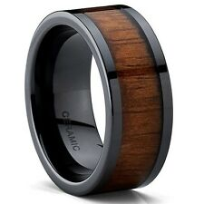 Black Ceramic Flat Top Wedding Band Ring with Real Koa Wood Inlay, 9MM Comfort