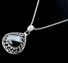 Natural Black Banded Agate Cabochon Gemstone Sterling Silver Pendant with Loop