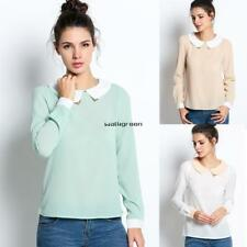 New Women Fashion Long Sleeve Doll Collar Casual Sweet Chiffon Top Shirt WN03