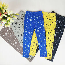 Kids Girls Star Printed Warm Leggings Stretchy Tight Trousers Long Pants 2-7Y