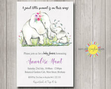Custom Baby Shower Invitation Cute Mum and Baby Elephant Little Peanut