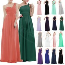 WOMENS Long Chiffon Evening Gown One Shoulder Bridesmaid Dress Prom Formal Party