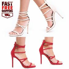 New Womens Strappy Stiletto Heel Dress Sandal Back Zip Open Toe RTW Casual Shoes