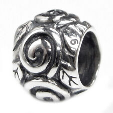 Sterling Silver Round Rose Leaf Swirl Dots Bead For European Charm Bracelets