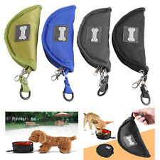 Portable Pet Dog Puppy Cat Folding Feeder Feeding Watering Folding Dish Bowl JS