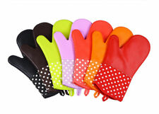 Kitchen Gloves Heat Resistant Potholder Silicone Oven Mitts With Quilted Cotton