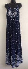 NEW Ex BHS Navy & White Floral Print Summer Holiday Maxi Dress Size Size 10-20
