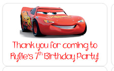 PERSONALISED STICKERS LABELS ADDRESS PARTY BAGS SWEET CONES DISNEY CARS