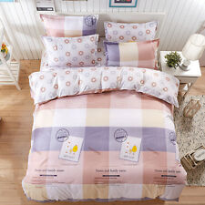 Single Queen King Gift Bed Set Pillowcase Quilt Duvet Cover Happy FitUS
