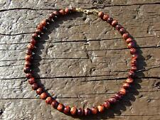 Red Tigers Eye Natural Gemstone Necklace 8mm Beaded Gold 16-30inch Healing Stone