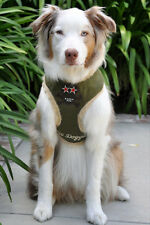 NWT HIP DOGGIE Dog harness Olive Green Faux Suede Fur lined skull SMALL NEW