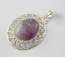 Natural Ruby Zoisite Cabochon 17x22mm Fancy Shape Gemstone 925 Sterling Silver