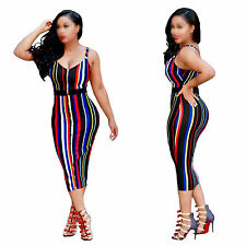 New Sexy Women's Summer Tight Evening Party Cocktail Club Rainbow Striped Dress