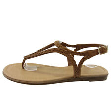 Women's Beach Sandals Braided Buckle Strappy Flat Thong Sandals