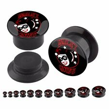 Pair of Harley Quinn Logo Acrylic Plugs Screw Fit Tunnels Ear Gauge 4G-1""