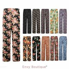 NEW LADIES WOMENS FLORAL PRINT WIDE LEG PALAZZO TROUSERS PANTS PLUS SIZES 8-26