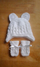 Handmade Crocheted Baby Unisex Cable Hat with Earflaps/Ears & Mitts various cols