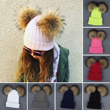 Kids Girls Winter Beanie Hat Wool Knitted Fashion Large Fur Double Pom Pom Cap A