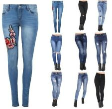 Womens Ladies Embroidered Denim High Waisted Skinny Fit Stretch Jeans
