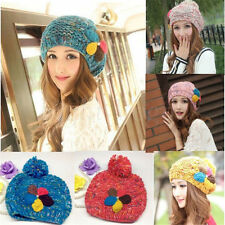 Winter Warm Women Crochet Knitting Wool Hats Beret Ski Beanie Ball Hat Caps