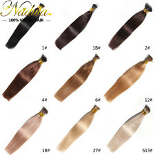 7A 100S Keratin Stick I-Tip Fusion Remy Real Human Hair Extensions Straight Hair