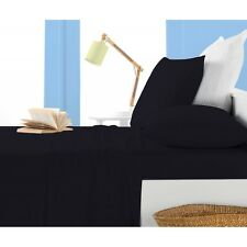 High Quality Solid Bed Sheets 4 pc Black Full Queen King Microfiber