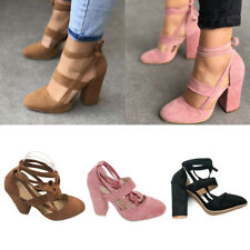 Plus Size Womens High Heels Ankle Strap Suede Pointed Kitten Heel Pump Shoes