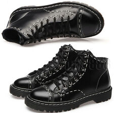 Women High top Biker Lace Up Flat Leather Low Heel Ankle Boots Booties Shoes New