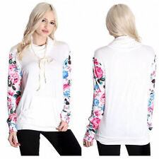 Floral Womens Casual Hooded Sweatshirt Pullover Hoodie Outerwear Jumper Tops g9