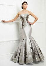 Strapless Gray Mother Of The Bride Dresses Sleeveless Lace Applique Evening Gown