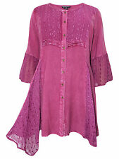 Womens plus size 18 to 30 top raspberry longer length romantic 3/4 sleeves lace
