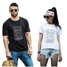 Unisex Owl Printed Cotton Short Sleeve T-Shirt Summer Couple Lovers Tops Tee NEW