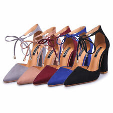 Womens Pointy Closed Toe Self-Tie Ankle Strap Chunky Block High Heel Pump Sandal