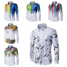 Mens Colored Print Luxury Casual Long Sleeve White Shirts Dress Shirts Tee Tops
