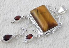 Natural Genuine Tiger Eye And Garnet Gemstone 925 Sterling Silver Pendant