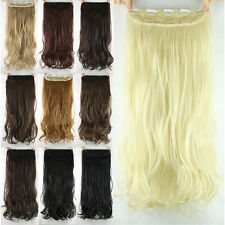 "New Women Girls Clip in on Hair extensions Synthetic Curly Long 23"" 60cm Stylish"