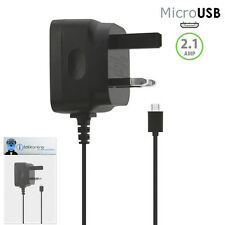 3 Pin 2.1 AMP UK MicroUSB Mains Charger for BlackBerry 9105 Pearl 2
