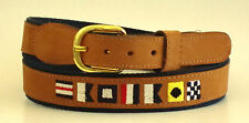 Zep-Pro Embroidered Leather Canvas Belt > NAUTICAL CODE FLAGS CAPTAIN  pick size