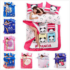 FitCA Panda Sailor Flower Heart Bed Set Cotton Queen Double Duvet Quilt Cover