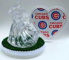 Wedding Cake Topper Chicago Cubs Themed Clear Couple Dancing Baseball w/Garter