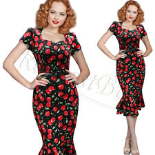 New Womens Rockabilly Mermaid Pencil Dress Evening Party Cocktail Wiggle Dresses