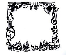 4 Christmas Greetings Square Frame Die Cuts, Festive, Amy Design Any Colour/Card
