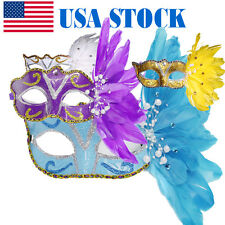Women Feather Mardi Gras Ball Masquerade Venetian Mask Halloween Costume